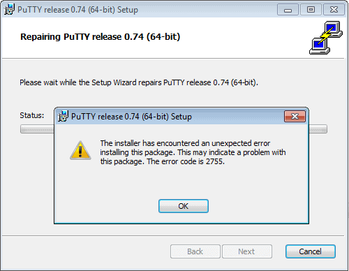 The installer has encountered an unexpected error installing this package.